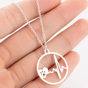 Dog Lovers Necklace - heartbeat paw print